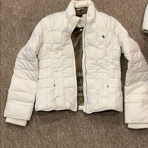Abercrombie and Fitch white puffer winter coat